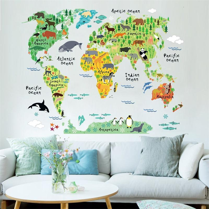 Newest Cartoon Animals World Map Home Decal Wall Sticker For Kids In World Map Wall Art For Kids (View 6 of 20)