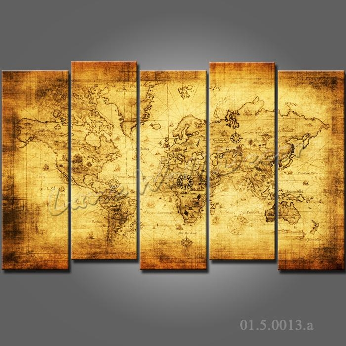 No Frame Canvas Only Canvas Painting Old World Map Wall Sticker With Regard To Framed Map Wall Art (Image 11 of 20)