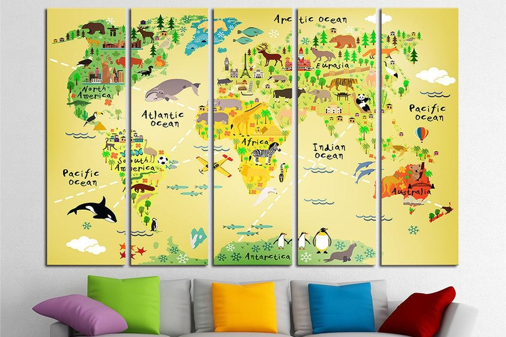 Nursery World Map Nursery Map Map For Kids World Map For Kids Throughout Kids World Map Wall Art (Image 16 of 20)