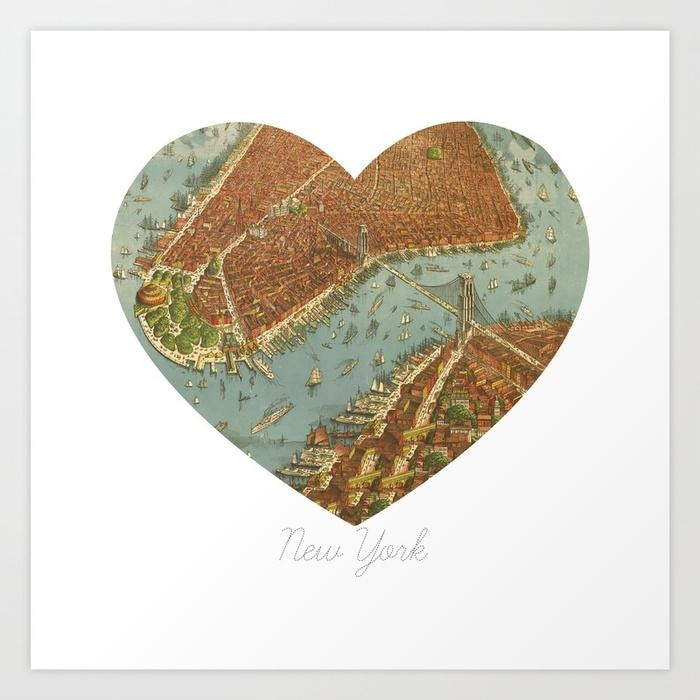 Nyc Heart Map, New York Brooklyn Bridge, Vintage Map Wall Art Intended For Brooklyn Map Wall Art (Photo 10 of 20)