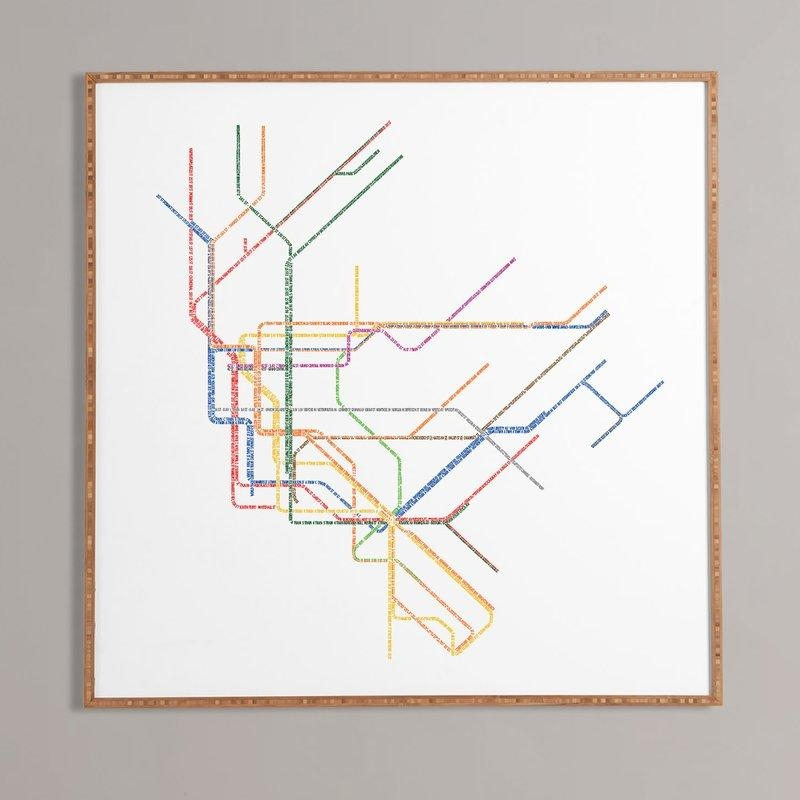 Nyc Subway Map' Framed Wall Art & Reviews | Allmodern With Subway Map Wall Art (Image 7 of 20)