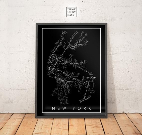 Nyc Subway Map Original Artwork Poster Art Wall Art Regarding Nyc Subway Map Wall Art (Image 7 of 20)