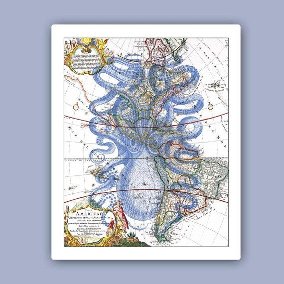 Octopus Print 2 In Blue On Old Map Of America Marine Wall Within Nautical Map Wall Art (View 17 of 20)
