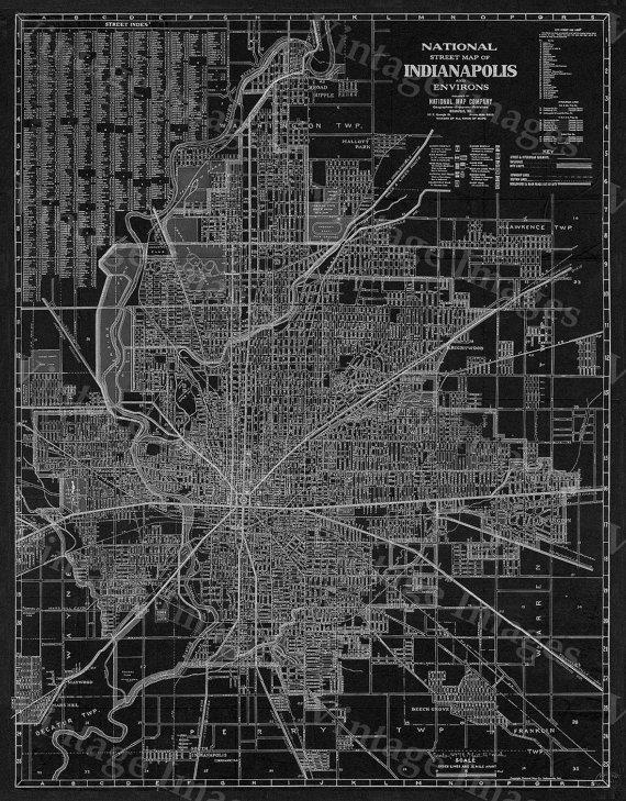 Old Indianapolis Map 1921 Antique Restoration Hardware Style Within Street Map Wall Art (Image 16 of 20)
