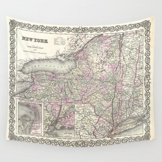 Old New York Map Wall Tapestry, Vintage Map Large Size Wall Art Pertaining To New York Map Wall Art (Image 19 of 20)