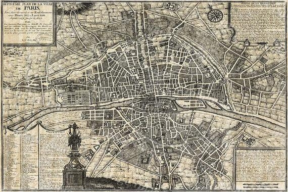 Old Paris Map Restoration Hardware Style Map Of Paris Historic Intended For Paris Map Wall Art (Image 11 of 20)