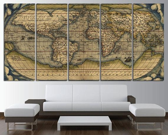 Old World Map Wall Art Multi Panel Set Vintage Large World Map Throughout Large Map Wall Art (Image 13 of 20)