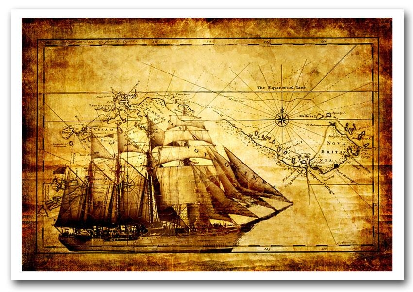 Old World Map With Ship  Maps Framed Art Giclee Art Print Within World Map Wall Art Framed (Image 7 of 20)