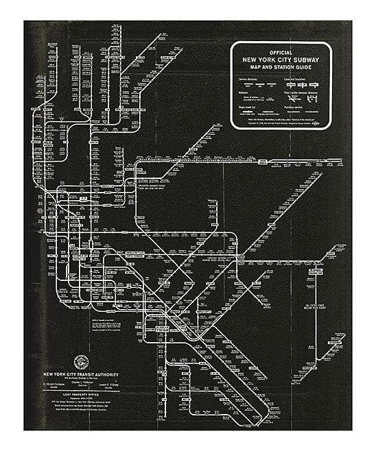 Oliver Gal New York Subway Map 1958 Wall Art Print | Zulily Intended For Nyc Subway Map Wall Art (Image 15 of 20)