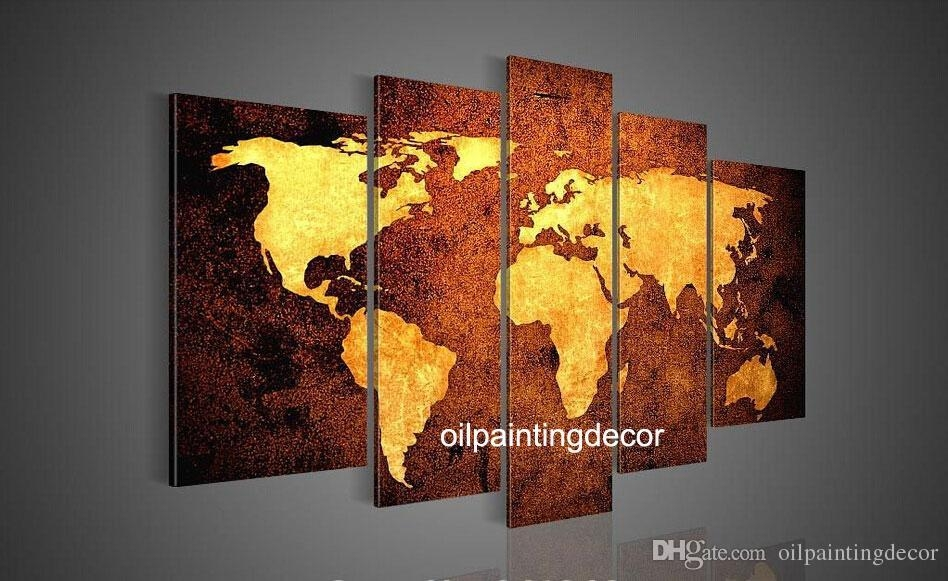 Online Cheap Hand Painted Canvas World Map Wall Art Large Oil Throughout Canvas Map Wall Art (View 7 of 20)