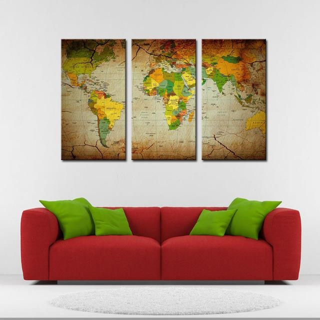 Online Shop 3 Pieces Abstract Map Wall Art Painting World Map With Regard To Abstract Map Wall Art (View 18 of 20)