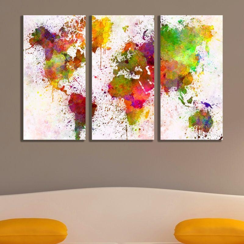 Online Wall Art Decoration Set Of 3 Parts Abstract World Map Throughout Abstract Map Wall Art (View 14 of 20)