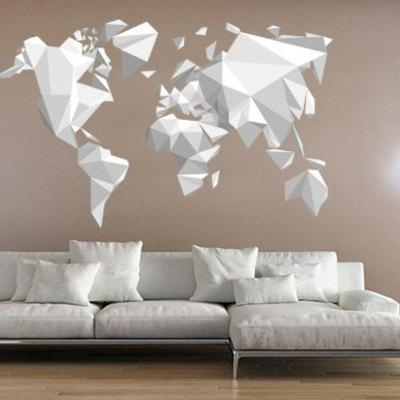 Origami World Map Wall Sticker Decal · Moonwallstickers Pertaining To World Map Wall Art Stickers (Image 10 of 20)