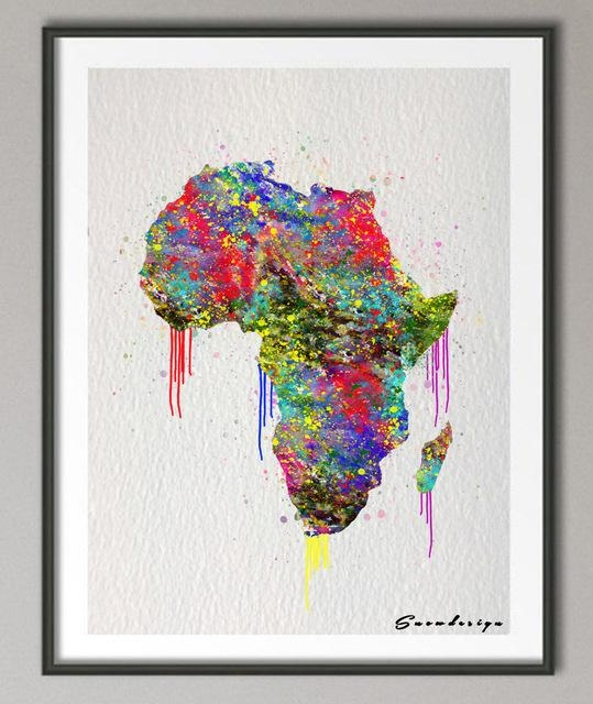 Original Watercolor Africa Map Canvas Painting Mordern Wall Art Throughout Africa Map Wall Art (Image 12 of 20)