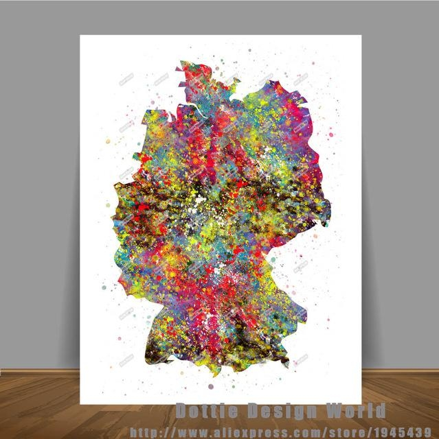 Original Watercolor Germany Map Canvas Painting World Map Wall Art Intended For World Map Wall Art Print (Image 10 of 20)