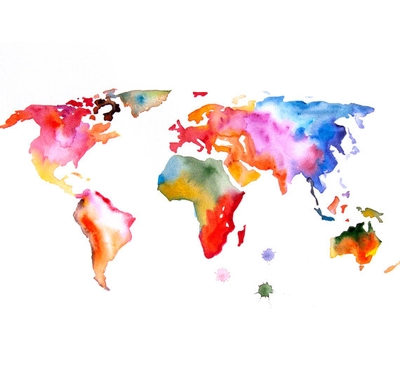 Original Watercolor Painting World Map 13X19 Abstract Modern Cool With Regard To Abstract World Map Wall Art (Image 13 of 20)