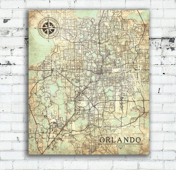 Orlando Fl Canvas Print Orlando Fl City Florida Vintage Map Intended For Florida Map Wall Art (Image 15 of 20)