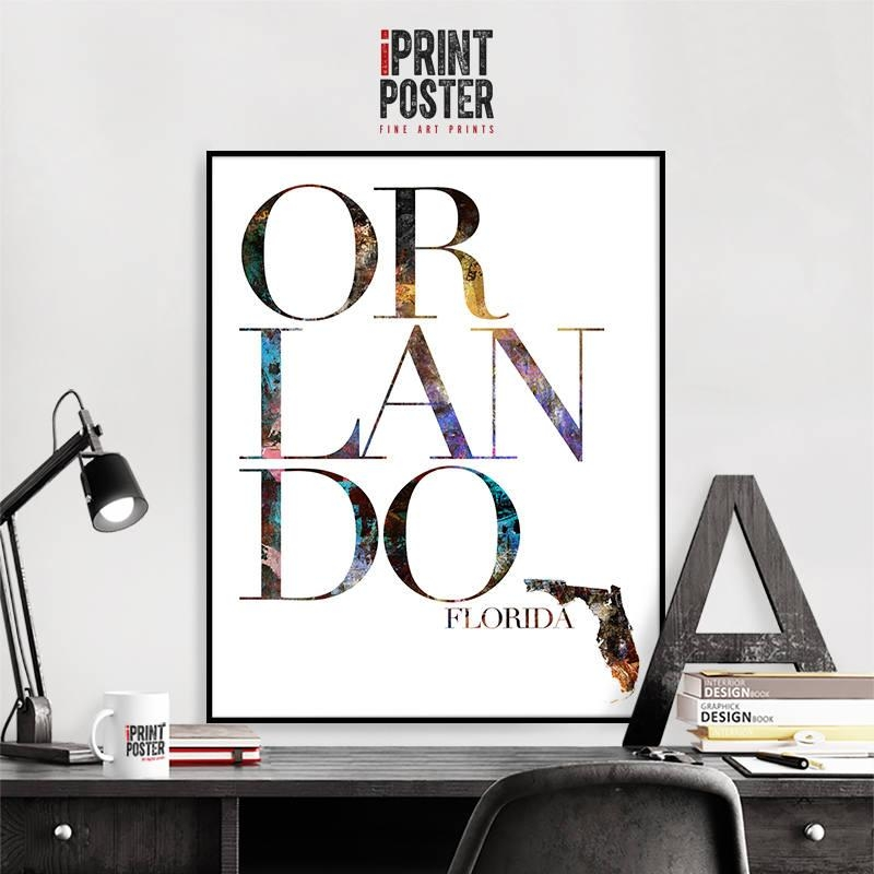 Orlando Print Florida Map Wall Art Poster, Orlando Typography Art Regarding Florida Map Wall Art (Image 16 of 20)