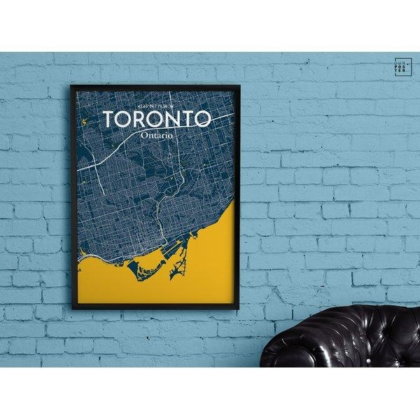 Ourposter 'toronto City Map' Graphic Art Print Poster In Amuse Intended For Map Wall Art Toronto (View 3 of 20)