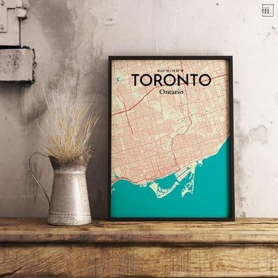 Ourposter 'toronto City Map' Graphic Art Print Poster In Tones Within Toronto Map Wall Art (Image 9 of 20)