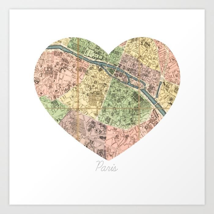 Paris Decor, Paris Map, Heart, Pink, Mint, Parisian, Dorm Decor With Regard To Paris Map Wall Art (Image 12 of 20)