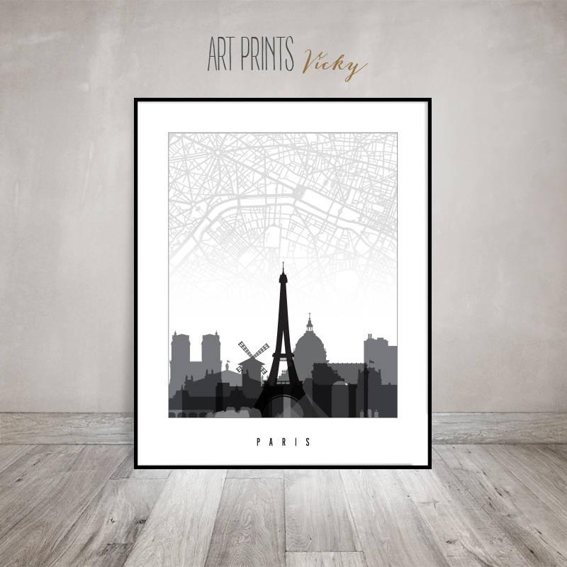 Paris Map Poster, Paris Skyline Print, Travel Gift, City Prints Within City Prints Map Wall Art (Image 17 of 20)