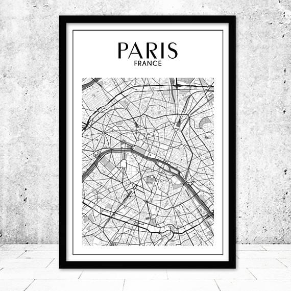Paris Map Print Paris Print Paris Map Paris Wall Art Map In Paris Map Wall Art (Image 14 of 20)