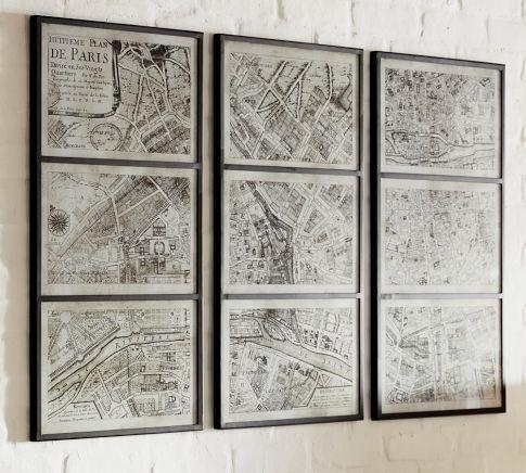 Paris Map Print Triptych – Pottery Barn Within Framed Map Wall Art (Image 12 of 20)