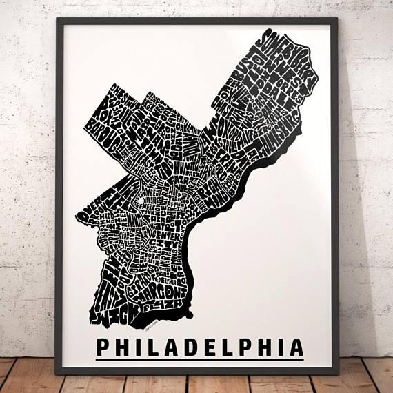 Philadelphia Map Art Philadelphia Art Print Philadelphia In Philadelphia Map Wall Art (Image 16 of 20)