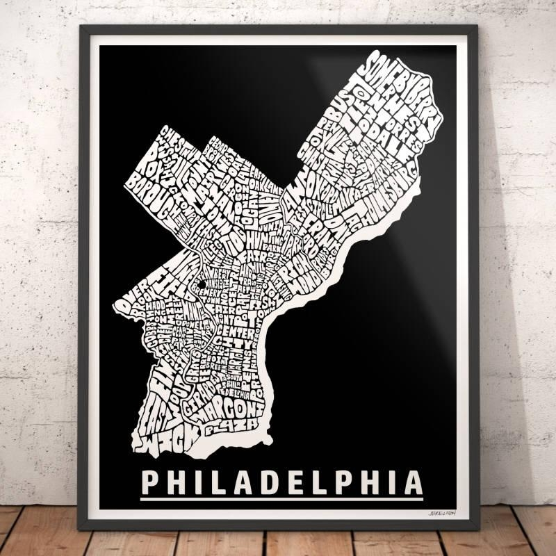 Philadelphia Map Art Philadelphia Art Print Philadelphia Within Philadelphia Map Wall Art (Image 17 of 20)