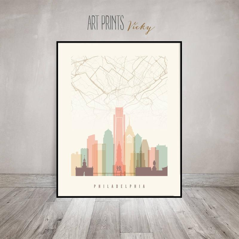 Philadelphia Map, Philadelphia Skyline Art Print, Poster, Wall Art With Philadelphia Map Wall Art (Image 20 of 20)