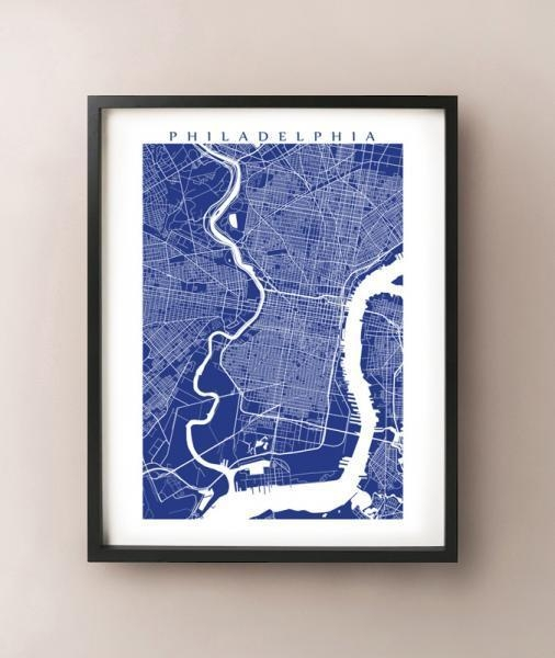 Philadelphia Map Print, Philly Art Poster,cartocreative On Zibbet Within Philadelphia Map Wall Art (Image 19 of 20)