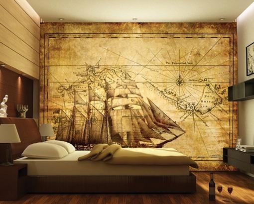 Photo Wall Mural Grand Explorer 400X280 Wall Decor Wallpaper Wall Inside Treasure Map Wall Art (Image 7 of 20)