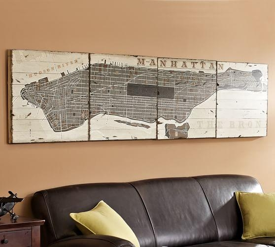 Pieced Manhattan Wood | Pottery Barn Within Manhattan Map Wall Art (Image 19 of 20)