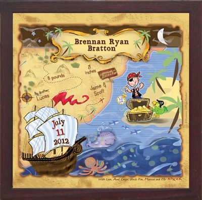Pirate Nursery Art | Personalized Gifts | Unique Boys Room Decor For Treasure Map Wall Art (Image 8 of 20)