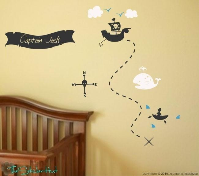 Pirate Treasure Map Your Name Boys Room Nursery Vinyl Throughout Treasure Map Wall Art (Image 9 of 20)