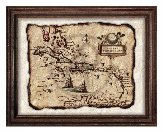 Pirate Treasure Mapold Map Art Parchment Artantique Regarding Treasure Map Wall Art (Image 10 of 20)