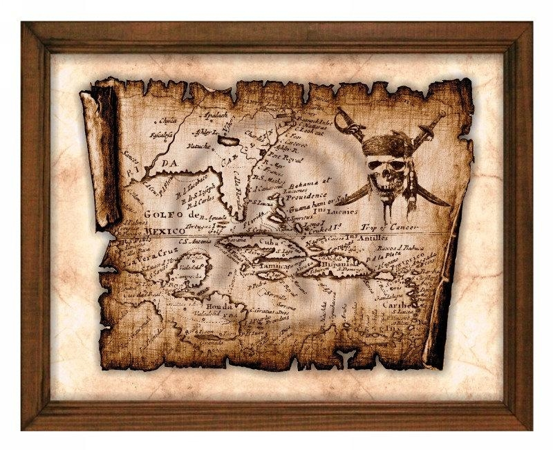 Pirates Of The Caribbean Parchmentpirate Art Printableold Inside Treasure Map Wall Art (Image 11 of 20)