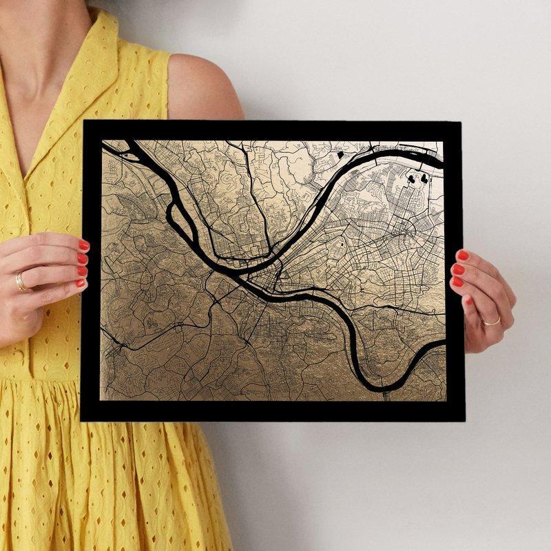 Pittsburgh Map Foil Pressed Wall Artalex Elko Design | Minted For Pittsburgh Map Wall Art (Image 14 of 20)