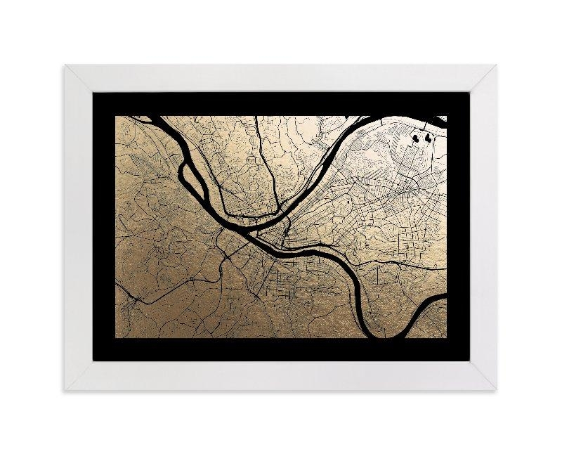 Pittsburgh Map Foil Pressed Wall Artalex Elko Design | Minted With Regard To Pittsburgh Map Wall Art (Image 15 of 20)