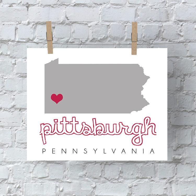 Pittsburgh Map Wall Art, Pittsburgh Wall Art, Printable Map Wall In Pittsburgh Map Wall Art (Image 17 of 20)