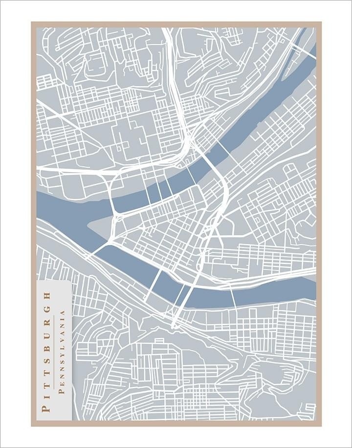 Pittsburgh Street Map 11X14 Print Pittsburgh Art Wall For Street Map Wall Art (Image 17 of 20)