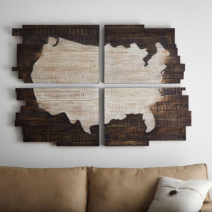 Planked Usa Wall Art Panels | Pottery Barn Inside Wood Map Wall Art (Image 7 of 20)