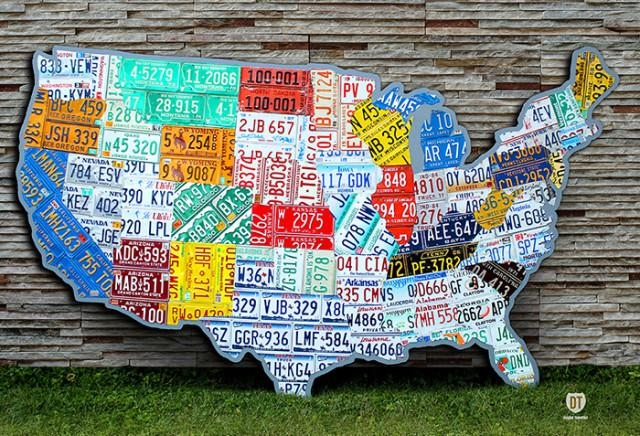 Plate Map Of The Usa Intended For License Plate Map Wall Art (Image 7 of 20)