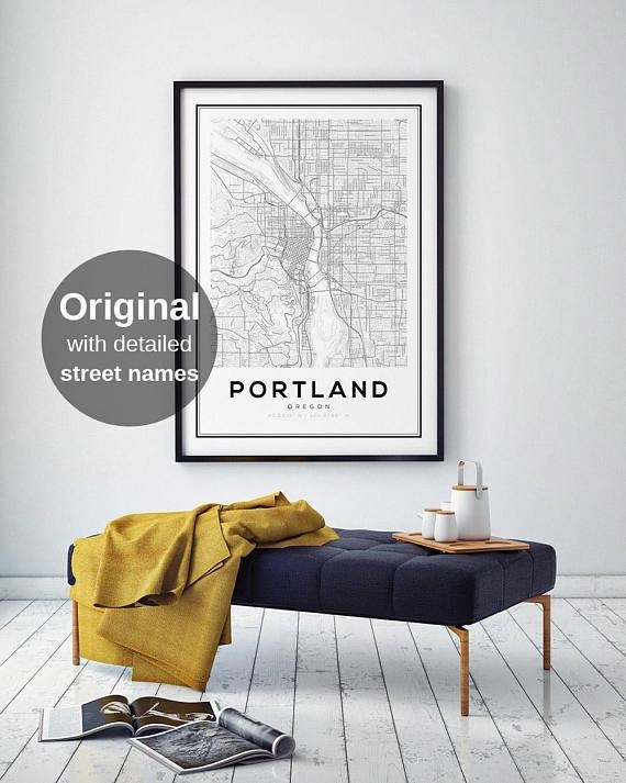 Portland City Map Print Oregon Map Print Us Map Print Map Within Portland Map Wall Art (View 12 of 20)