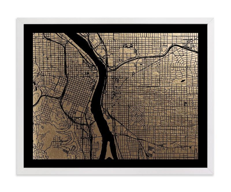 Portland Map Foil Pressed Wall Artalex Elko Design | Minted Regarding Portland Map Wall Art (View 4 of 20)