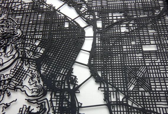 Portland Map Laser Cut Map Portland Oregon Map Of Portland Inside Portland Map Wall Art (View 2 of 20)