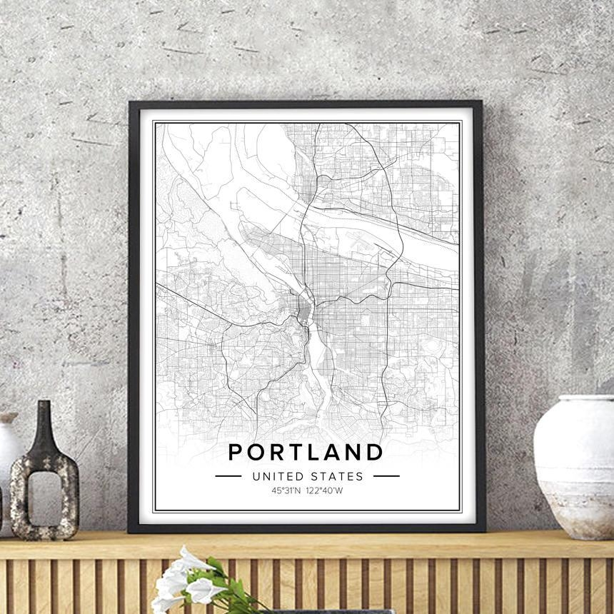 Portland Map Portland Art Portland Print Portland Poster Within Portland Map Wall Art (Image 14 of 20)
