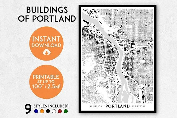 Portland Map Print Printable Portland Map Art Portland For Portland Map Wall Art (Image 15 of 20)