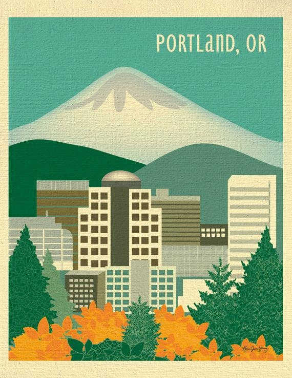 Portland Or Skyline Print Portland Map Portland Or Gift Mt (Image 19 of 20)